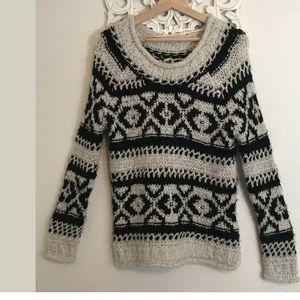 FREE PEOPLE  - Chunky Knit - Ivory/Black - Size XS